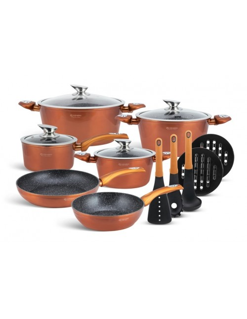 Edënbërg Copper Line -15-delige Luxe Pannenset van Gesmeed Aluminium - Koper/Metallic
