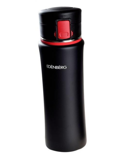 Edënbërg Black Line - Thermosfles - Travel Mug - Reisbeker - Thermosbeker - 0.48 l - RVS - Zwart/Rood